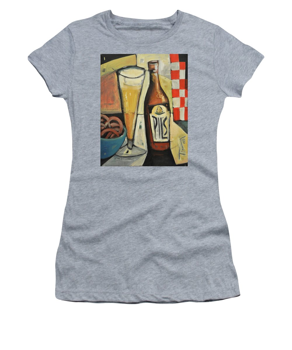 Beer Women's T-Shirt featuring the painting Sunshine And Hops by Tim Nyberg
