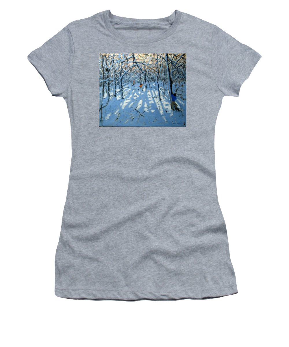 English Landscape Women's T-Shirt (Athletic Fit) featuring the painting Winter Woodland Near Newhaven Derbyshire by Andrew Macara