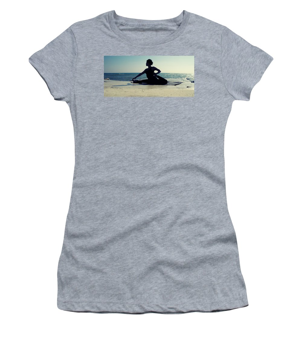 Beach Women's T-Shirt featuring the photograph Yoga by Stelios Kleanthous