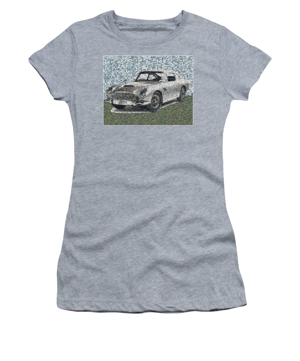 007 Women's T-Shirt featuring the digital art 1964 Aston Martin Mosaic by Paul Van Scott