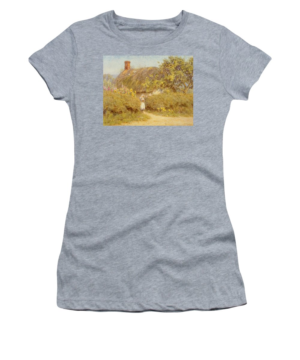 Surrey; Cottage; Rural; Country; Countryside; Thatch; Thatched; Sunny; Sunflowers; Foxgloves; Flowers; Doves; Pigeons; Birds; Hedge; Female; Young; Child; Girl; Pinafore; Cat; Pet; Holding; Chimney; House; Home; Idyll Women's T-Shirt (Athletic Fit) featuring the painting A Surrey Cottage by Helen Allingham