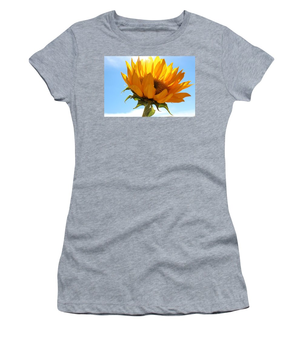 Yellow Women's T-Shirt (Athletic Fit) featuring the photograph Sunflower by Kume Bryant