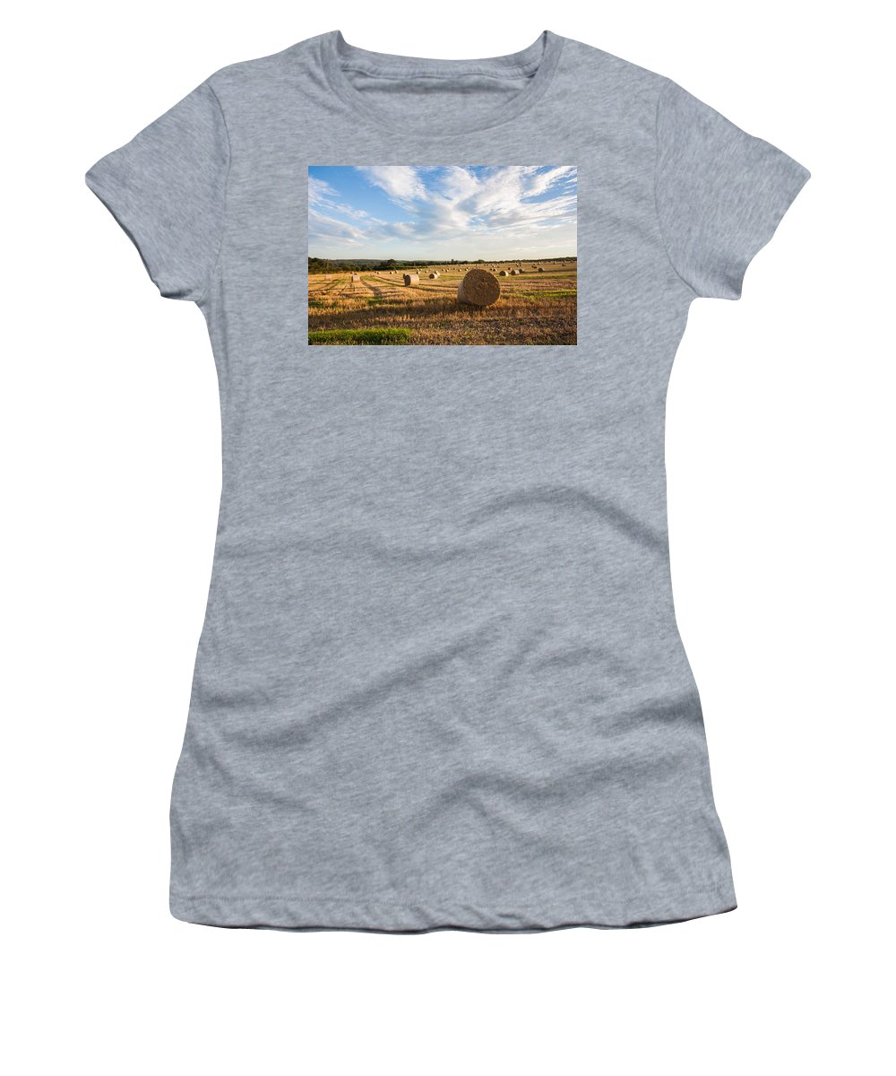 Clouds Women's T-Shirt (Athletic Fit) featuring the photograph Harvest Time by Dawn OConnor