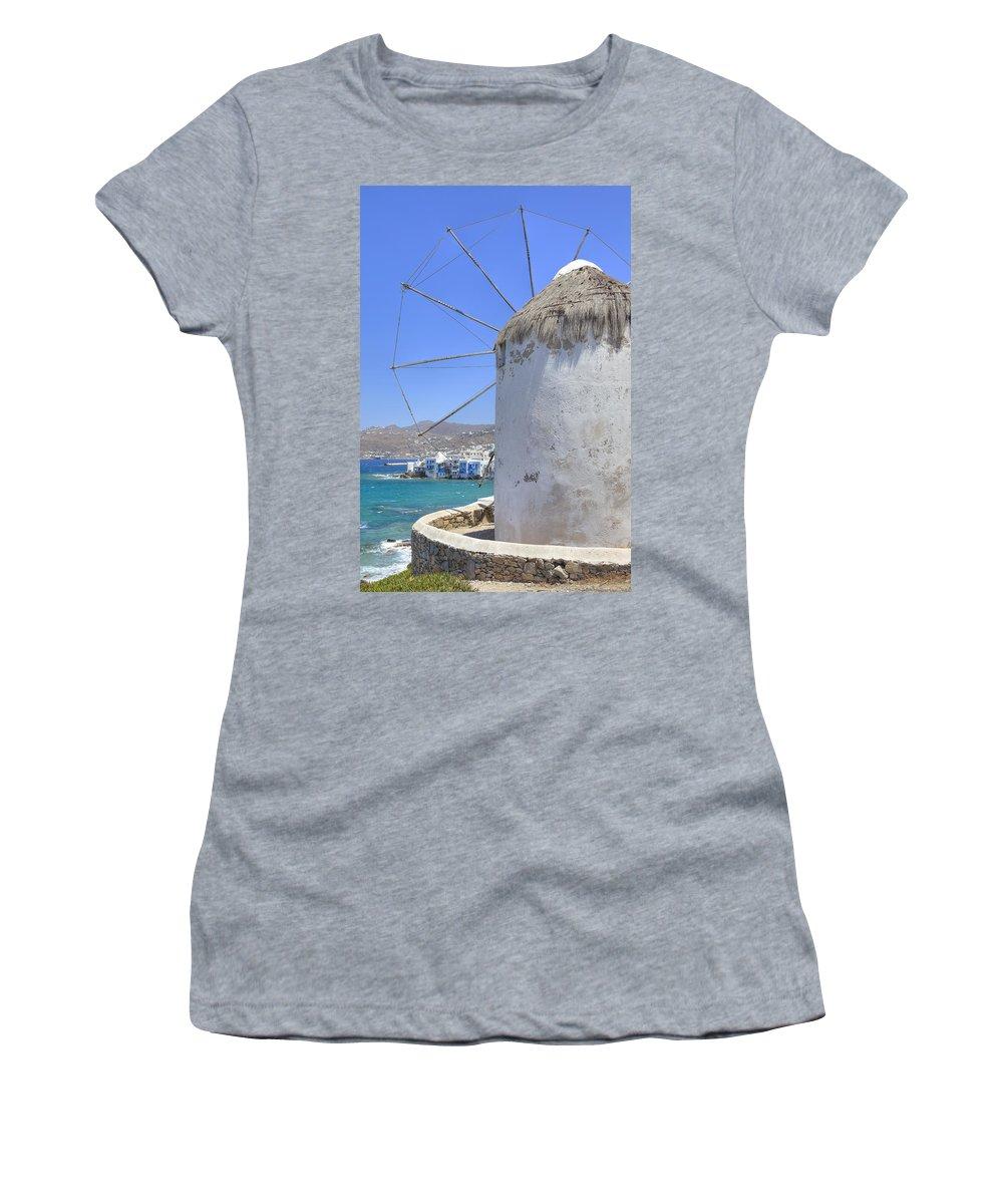 Windmill Women's T-Shirt featuring the photograph Mykonos by Joana Kruse