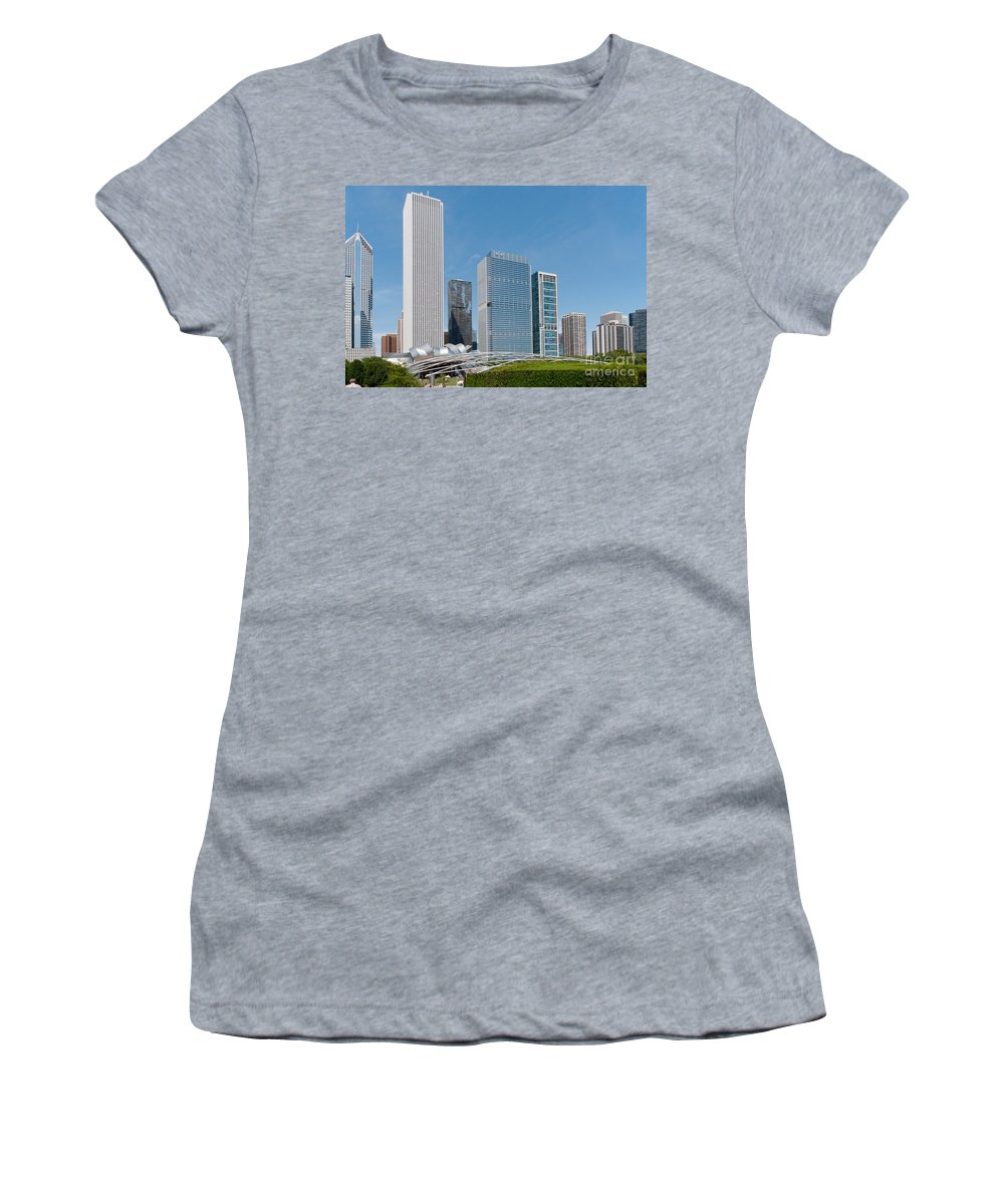 Chicago Women's T-Shirt (Athletic Fit) featuring the digital art Chicago City Scenes by Carol Ailles