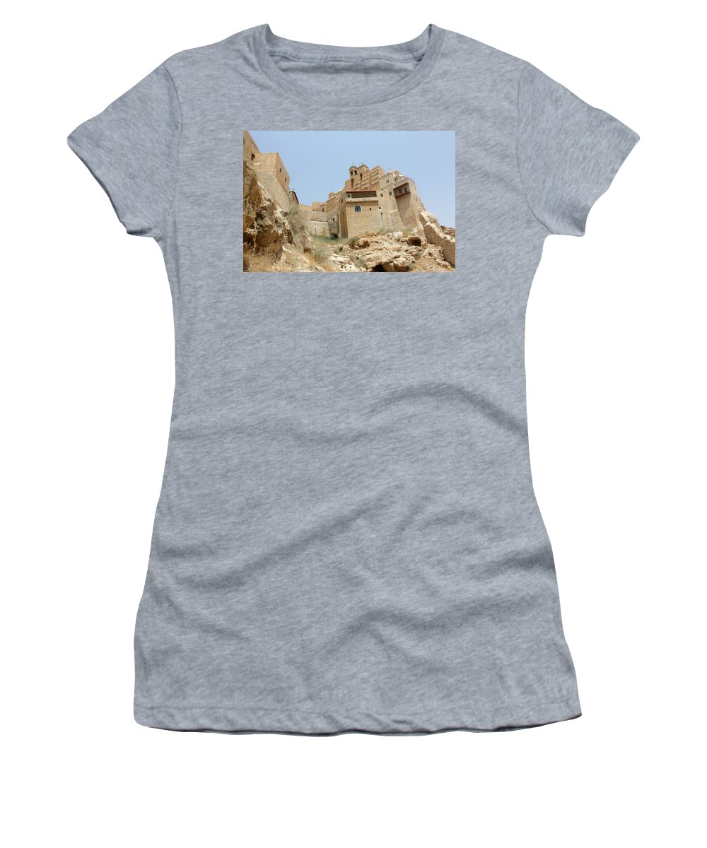 Orthodx Women's T-Shirt (Athletic Fit) featuring the photograph A Church In The Desert by Munir Alawi
