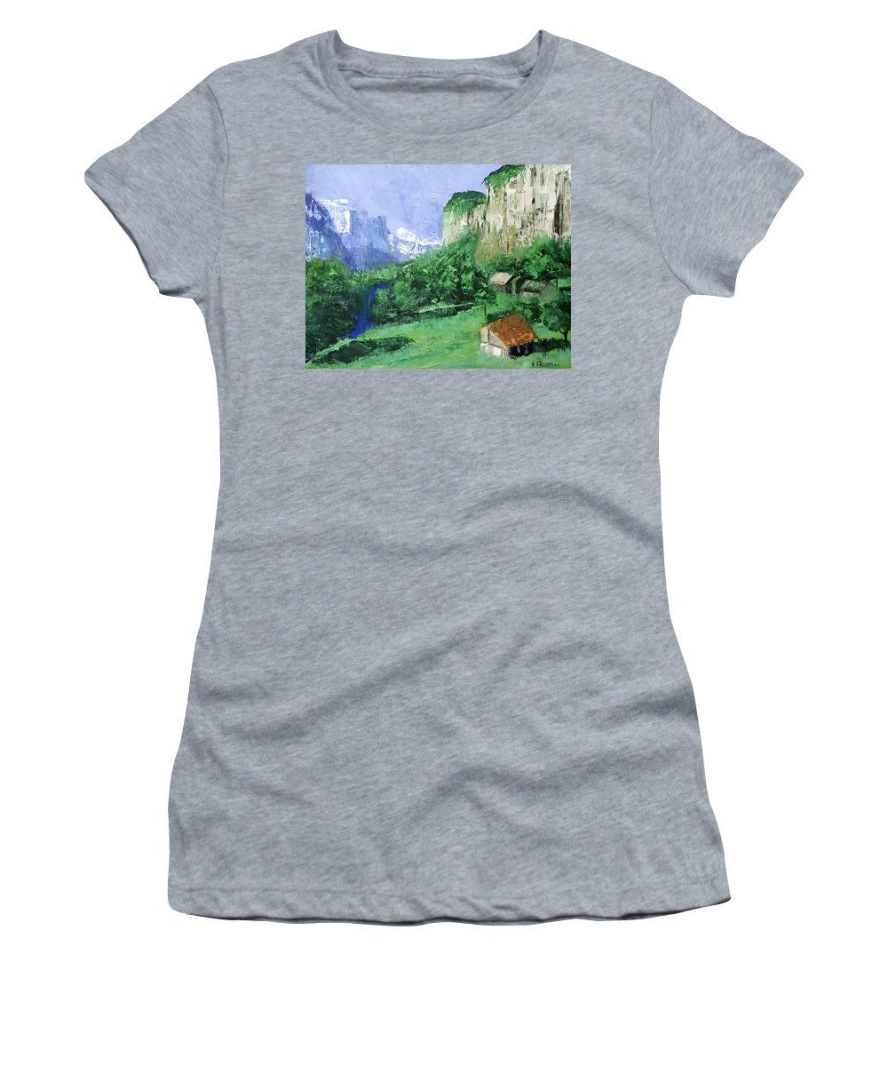 A Cold Clear Day Women's T-Shirt (Athletic Fit) featuring the painting A Cold Clear Day by Anthony Falbo