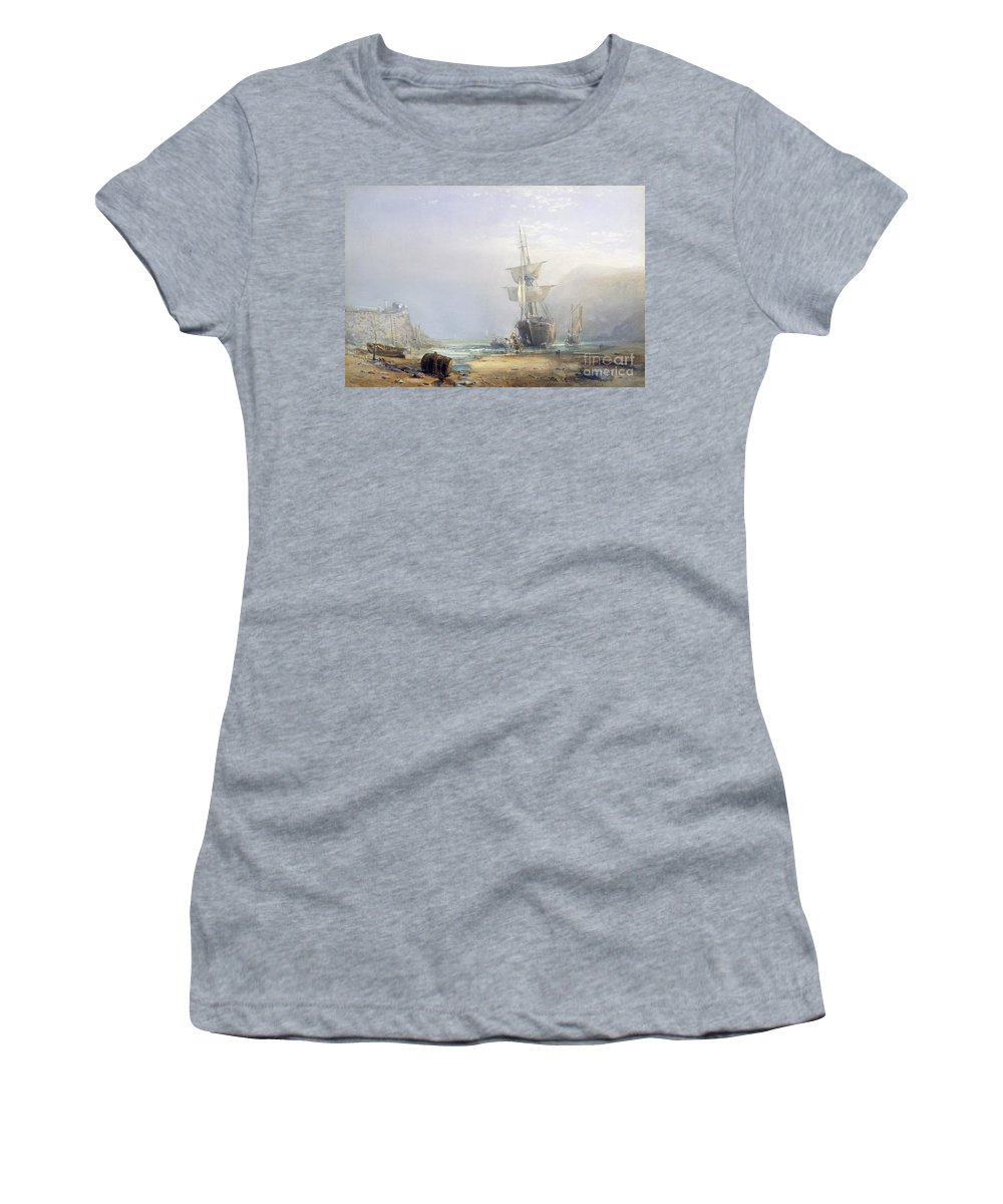 Hazy; Morning; Coast; Coastal; Devon; Shore; Beach; Ship; Ships; Shipping; Boat; Boats; Sail; Sailing; Wall; Barrel; Horse; Horses; Cart; Wagon; Dawn; Mist; Misty; Atmospheric; Low Tide; Low-tide Women's T-Shirt (Athletic Fit) featuring the painting A Hazy Morning On The Coast Of Devon by Samuel Phillips Jackson