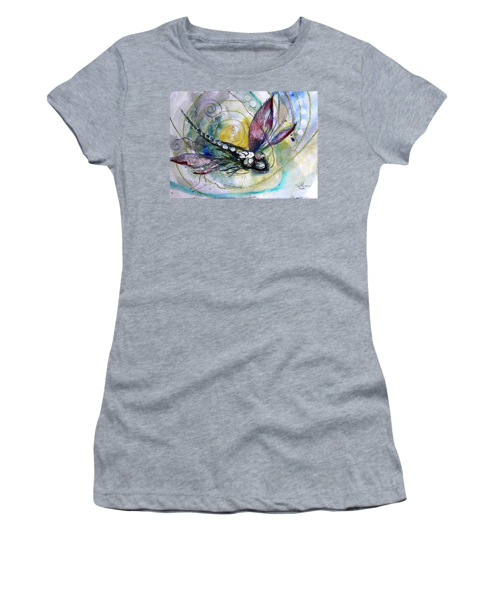 Dragonfly Women's T-Shirt (Athletic Fit) featuring the painting Abstract Dragonfly 11 by J Vincent Scarpace