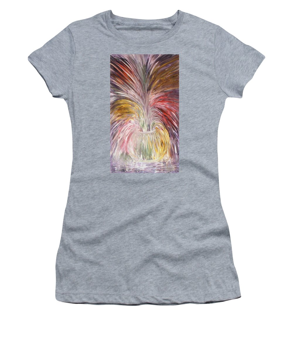 Abstract Stil Life Women's T-Shirt featuring the painting Abstract Vase And Energy Mouvement by Georgeta Blanaru