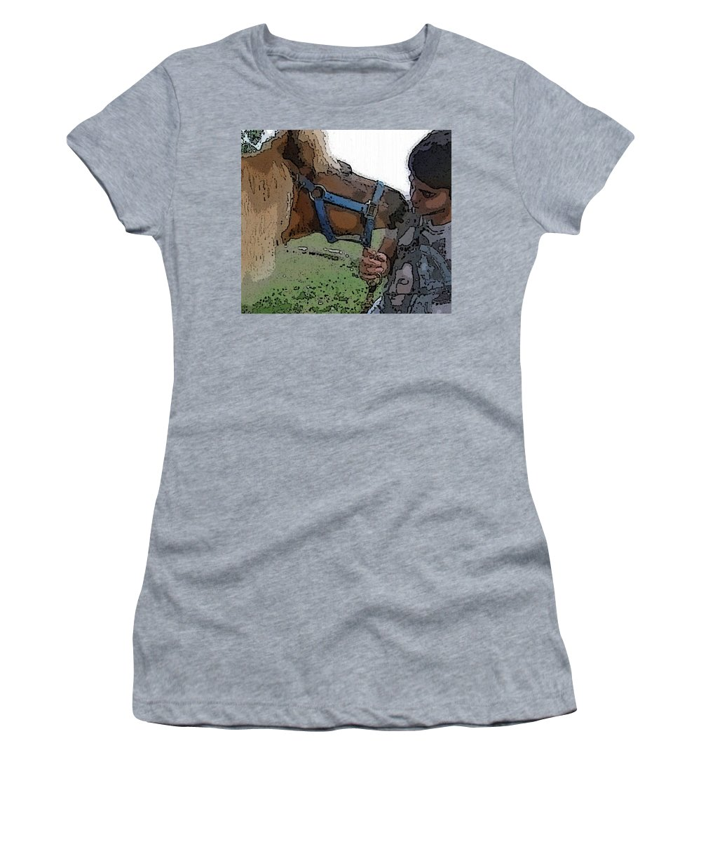 Miniature Horse Women's T-Shirt (Athletic Fit) featuring the photograph Alex And Cass2011 by Amber Stubbs