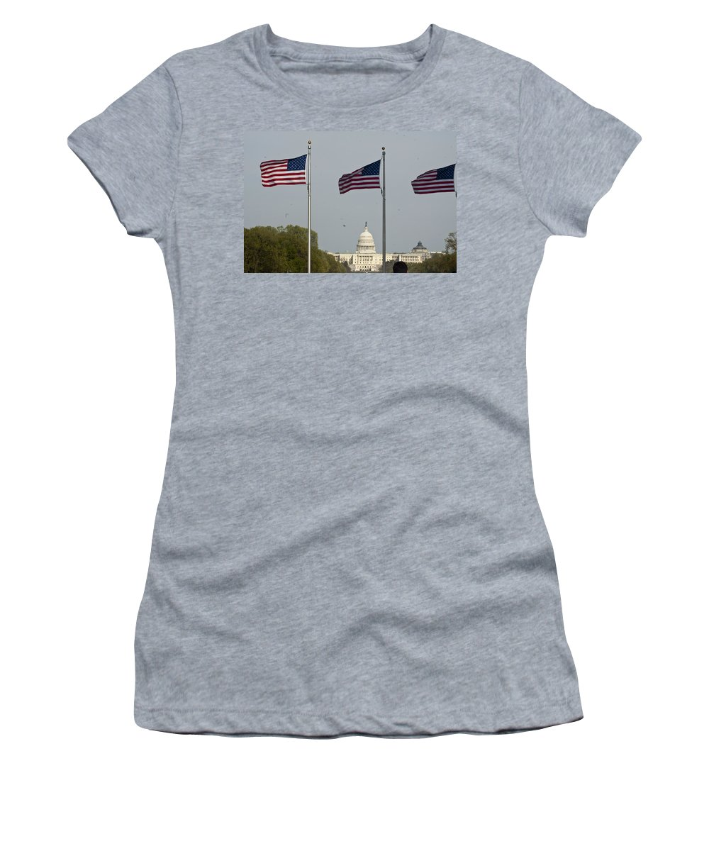American Flag Women's T-Shirt (Athletic Fit) featuring the photograph America by Darleen Stry