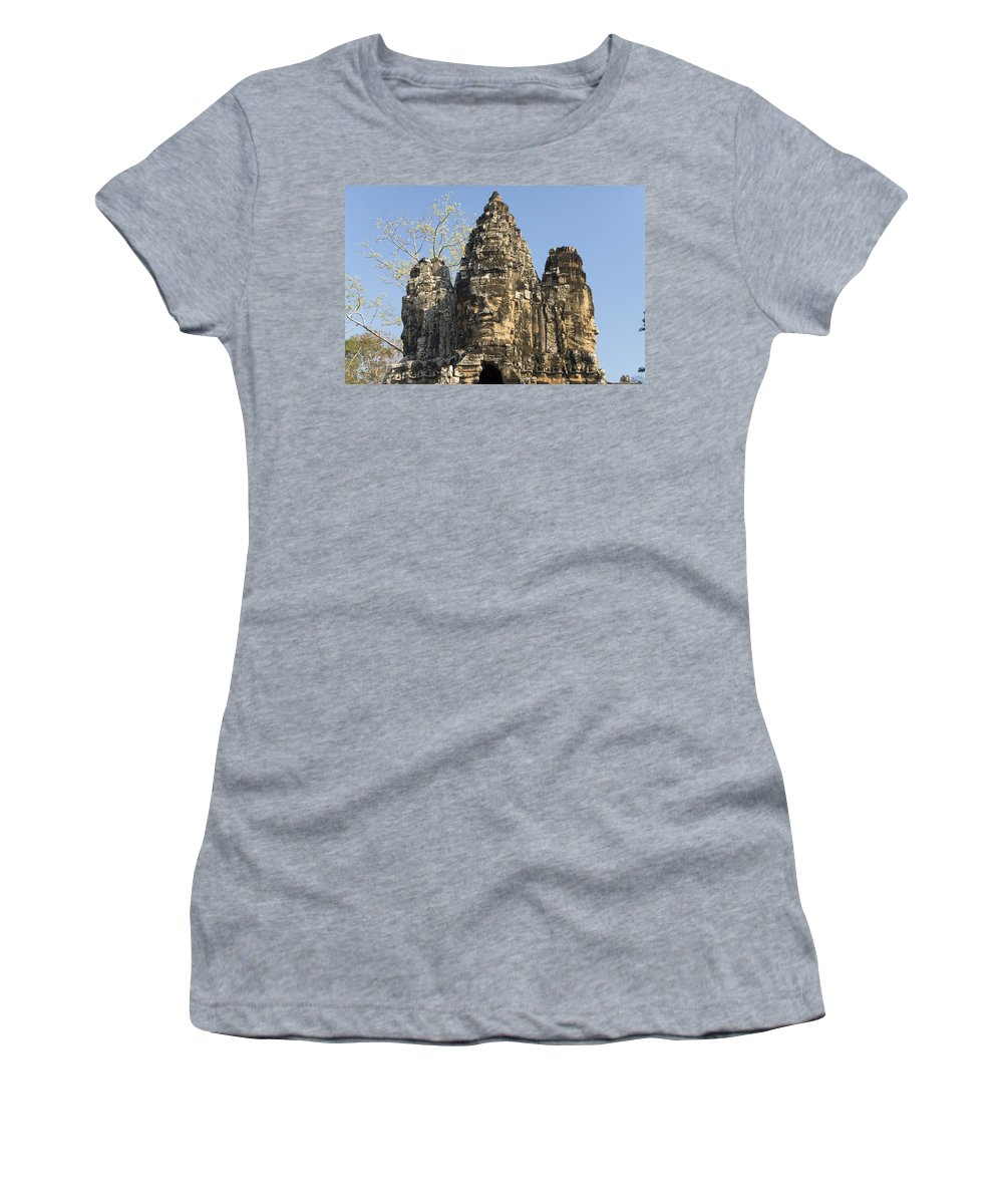 Ancient Women's T-Shirt (Athletic Fit) featuring the photograph Angkor Thom II by Gloria & Richard Maschmeyer