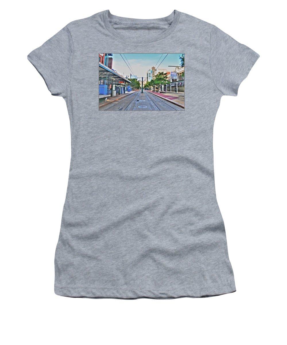 Women's T-Shirt featuring the photograph As You Enter Downtown Buffalo Main St by Michael Frank Jr