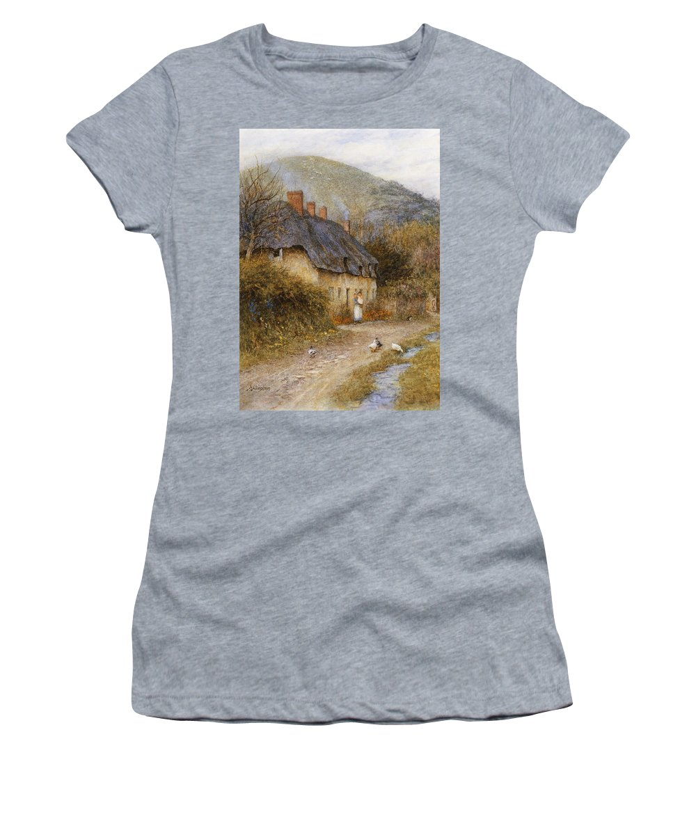 Thatched; Thatch; Cottage; West Country; Path; Lane; Rural; Stream; Ducks; Hill; Mother; Child Women's T-Shirt (Athletic Fit) featuring the painting At Symondsbury Near Bridport Dorset by Helen Allingham