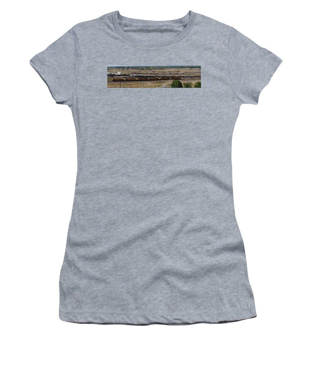 Train Women's T-Shirt featuring the photograph Bailey Yard by Sumi Martin
