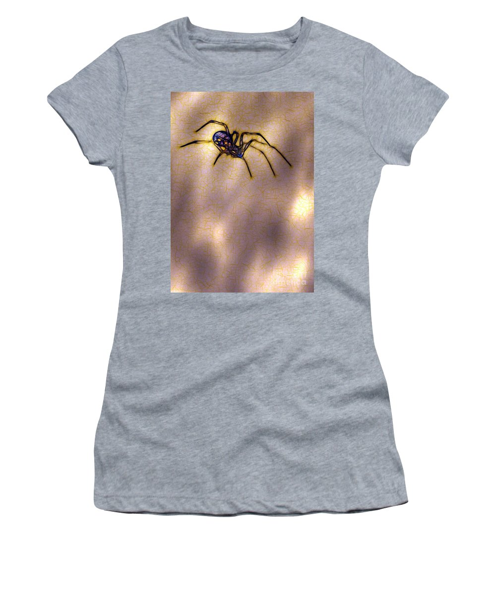 Spider Women's T-Shirt (Athletic Fit) featuring the photograph Balancing Act by Judi Bagwell