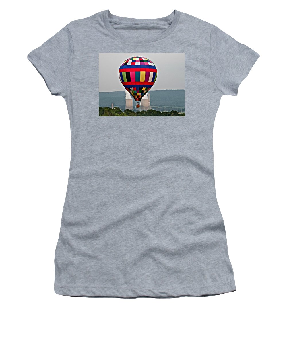 Ballooning Warren County Festival Balloon Power Stacks Women's T-Shirt featuring the photograph Ballooning Between The Stacks by Alice Gipson