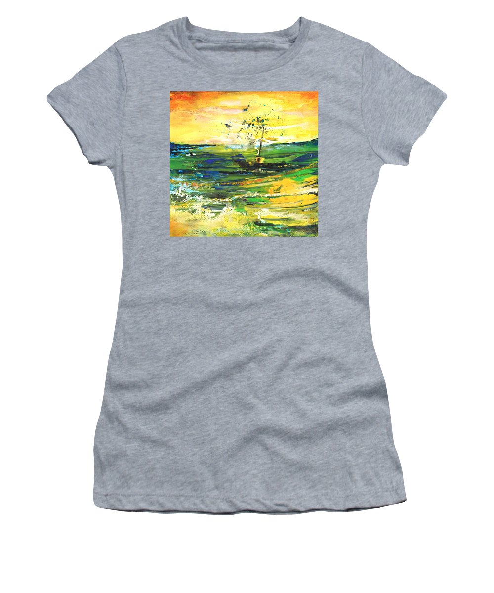 Impressions Women's T-Shirt (Athletic Fit) featuring the painting Bathed In Golden Light by Miki De Goodaboom