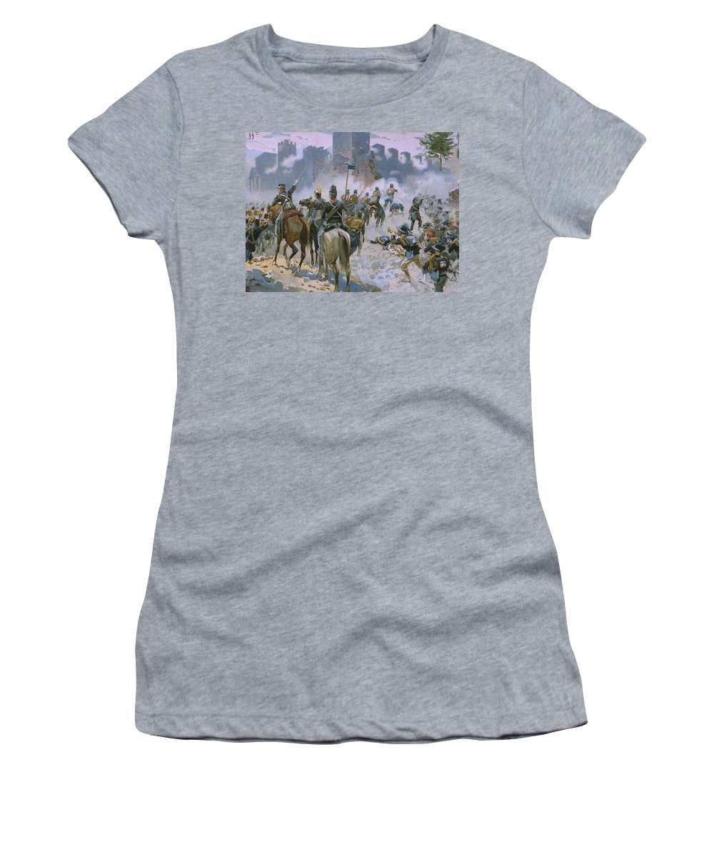 Male; Soldier; Soldiers; Army; Uniform; Military; Horse; Horses; Cavalry; Infantry; Bugler; Charge; Smoke; Nationalist; Nationalists; War; Italian Unification; Tower; Walls; City Women's T-Shirt featuring the painting Battle of Solferino and San Martino by Italian School