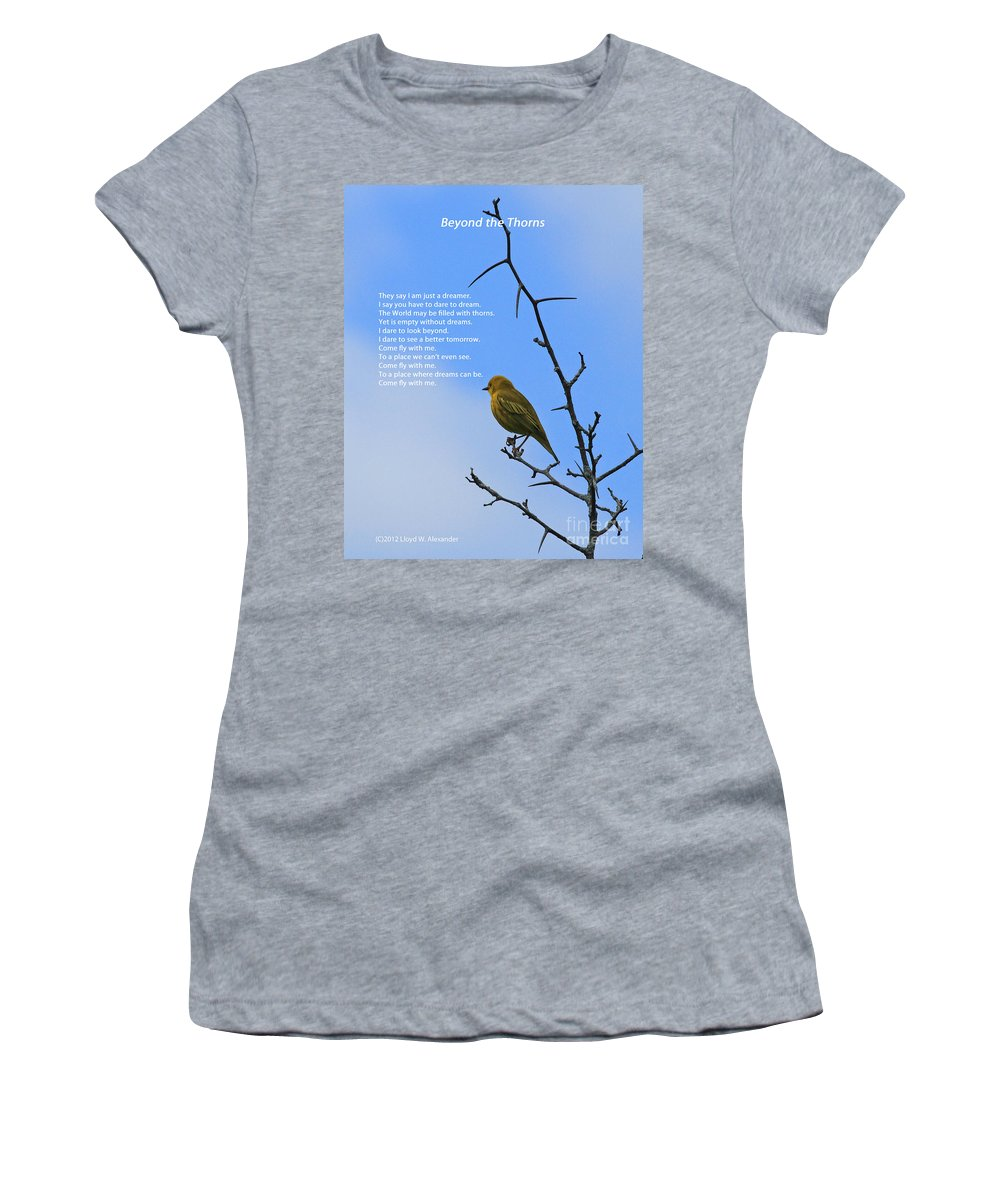 Card Women's T-Shirt (Athletic Fit) featuring the photograph Beyond The Thorns by Lloyd Alexander
