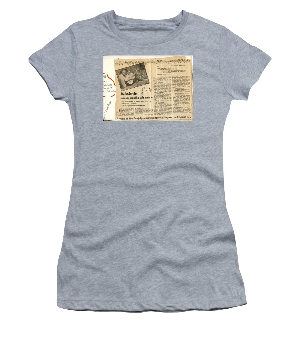 Colette Women's T-Shirt (Athletic Fit) featuring the photograph Bits From Danish Article From The Fifties by Colette V Hera Guggenheim