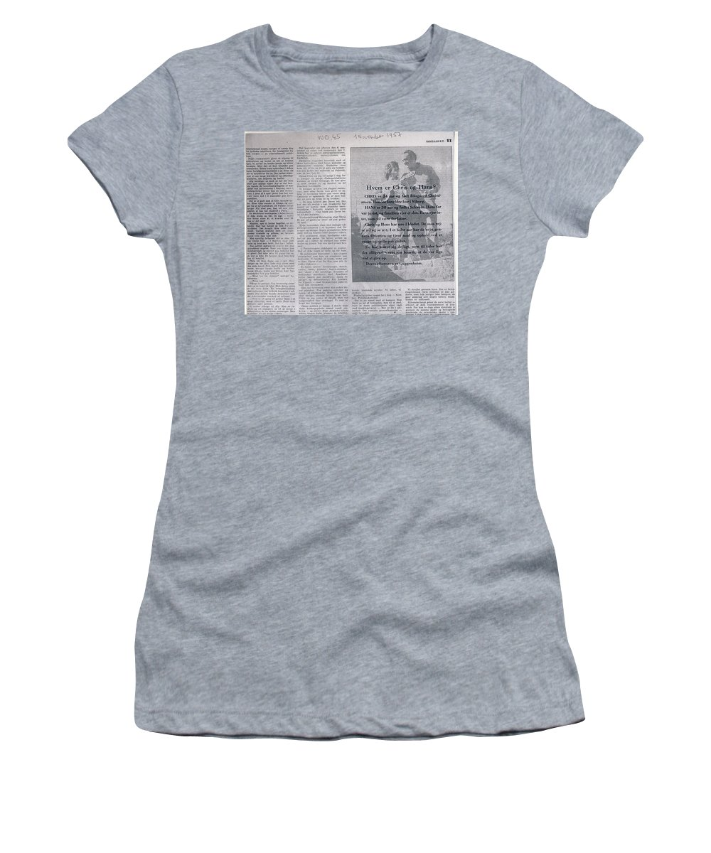 Colette Women's T-Shirt (Athletic Fit) featuring the photograph Bits From Globetrotter Article From The Fifties by Colette V Hera Guggenheim