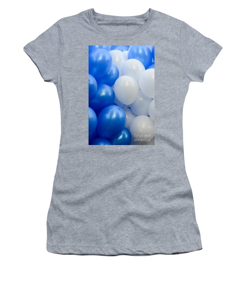 Balloons Women's T-Shirt featuring the photograph Blue And White Balloons by Amir Paz