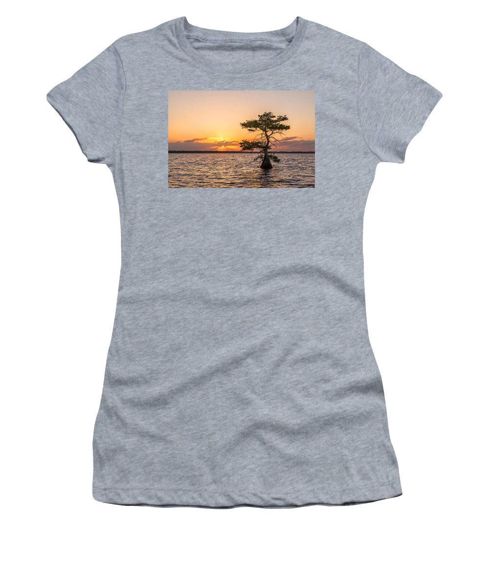 Usa Women's T-Shirt featuring the photograph Blue Cypress Lake Sunrise by Claudia Domenig