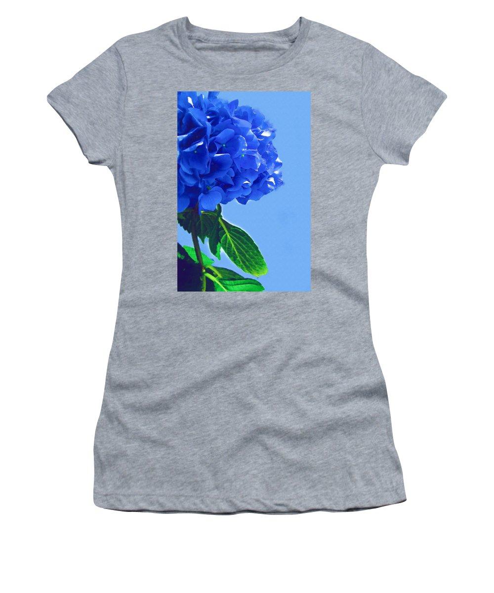Blue Women's T-Shirt featuring the photograph Blue Hortensia Hydrangea by Kathy Clark