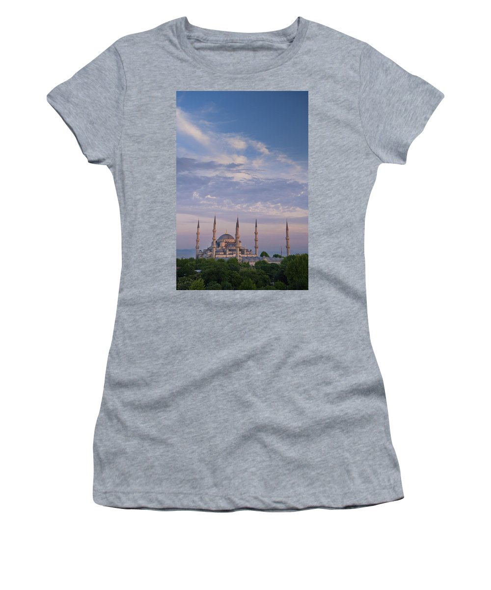 Worship Women's T-Shirt (Athletic Fit) featuring the photograph Blue Mosque by Axiom Photographic