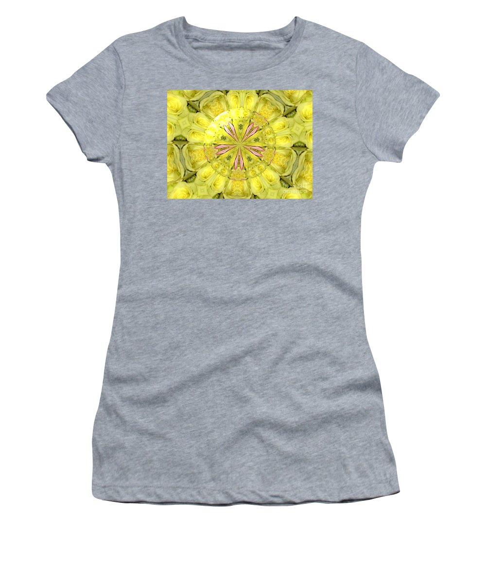 Yellow Roses Women's T-Shirt featuring the photograph Bouquet Of Roses Kaleidoscope 12 by Rose Santuci-Sofranko