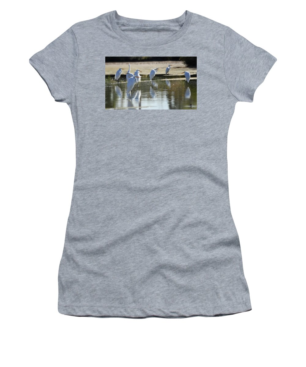 Great White Egret Women's T-Shirt featuring the photograph Breakfast Meeting by Saija Lehtonen