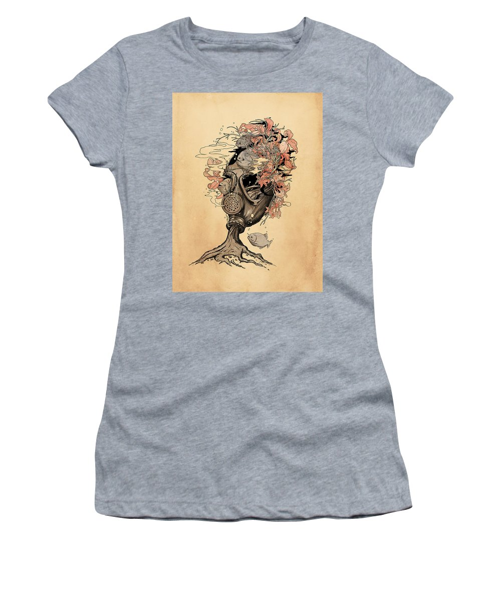 Gasmask Women's T-Shirt featuring the mixed media Breath by Nicebleed