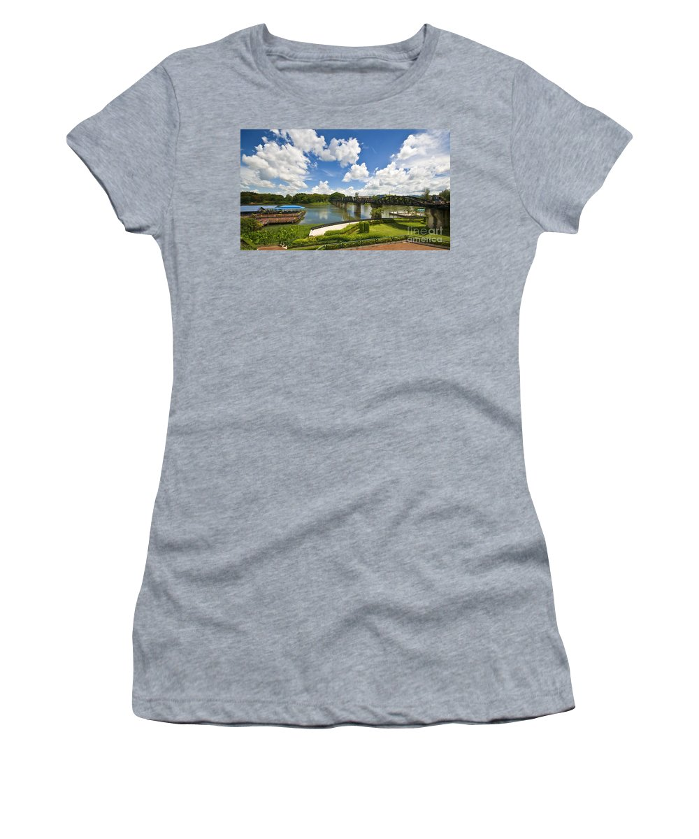 River Kwai Women's T-Shirt (Athletic Fit) featuring the photograph Bridge On The River Kwai Thailand by Charuhas Images