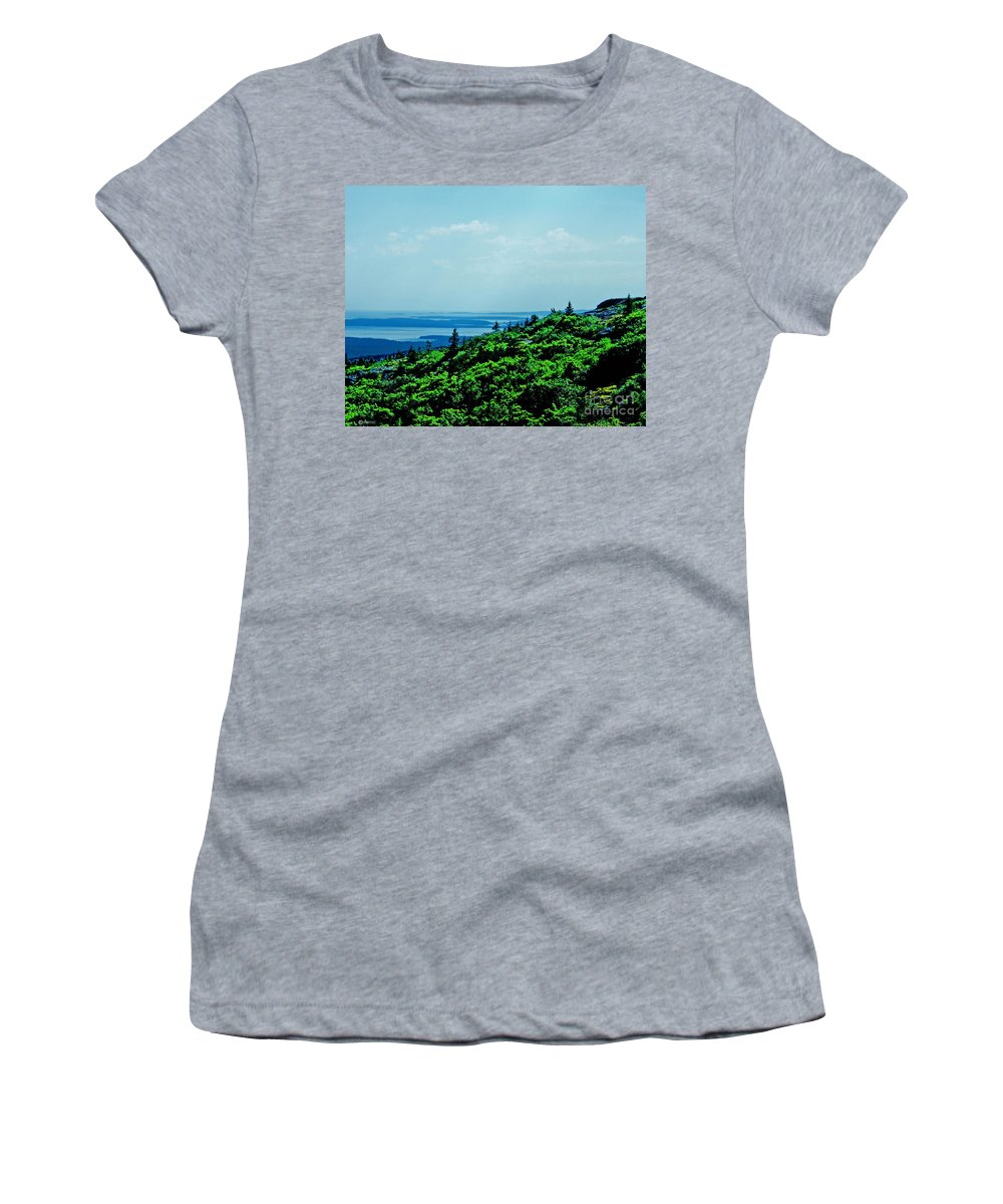 Mountain Women's T-Shirt featuring the digital art Cadillac Mt Mt Desert Island Me by Lizi Beard-Ward