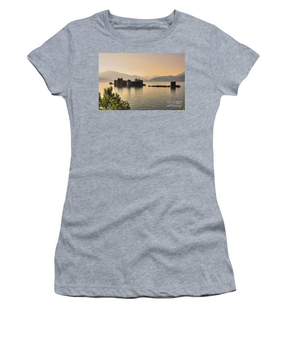 Castle Women's T-Shirt (Athletic Fit) featuring the photograph Castle Cannero On Lake by Mats Silvan