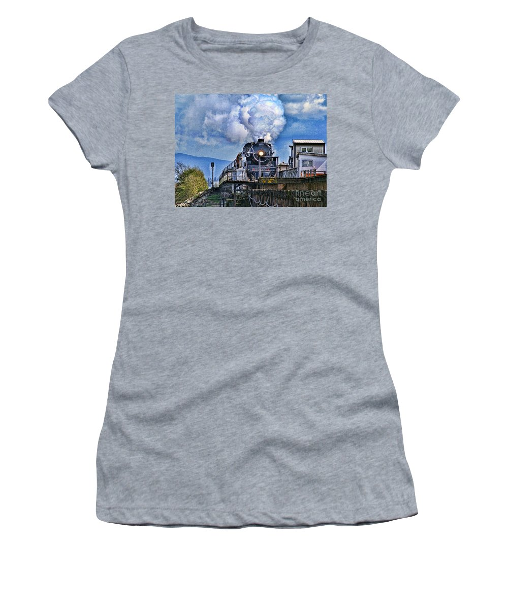 Trains Women's T-Shirt featuring the photograph Catr064-07 by Randy Harris