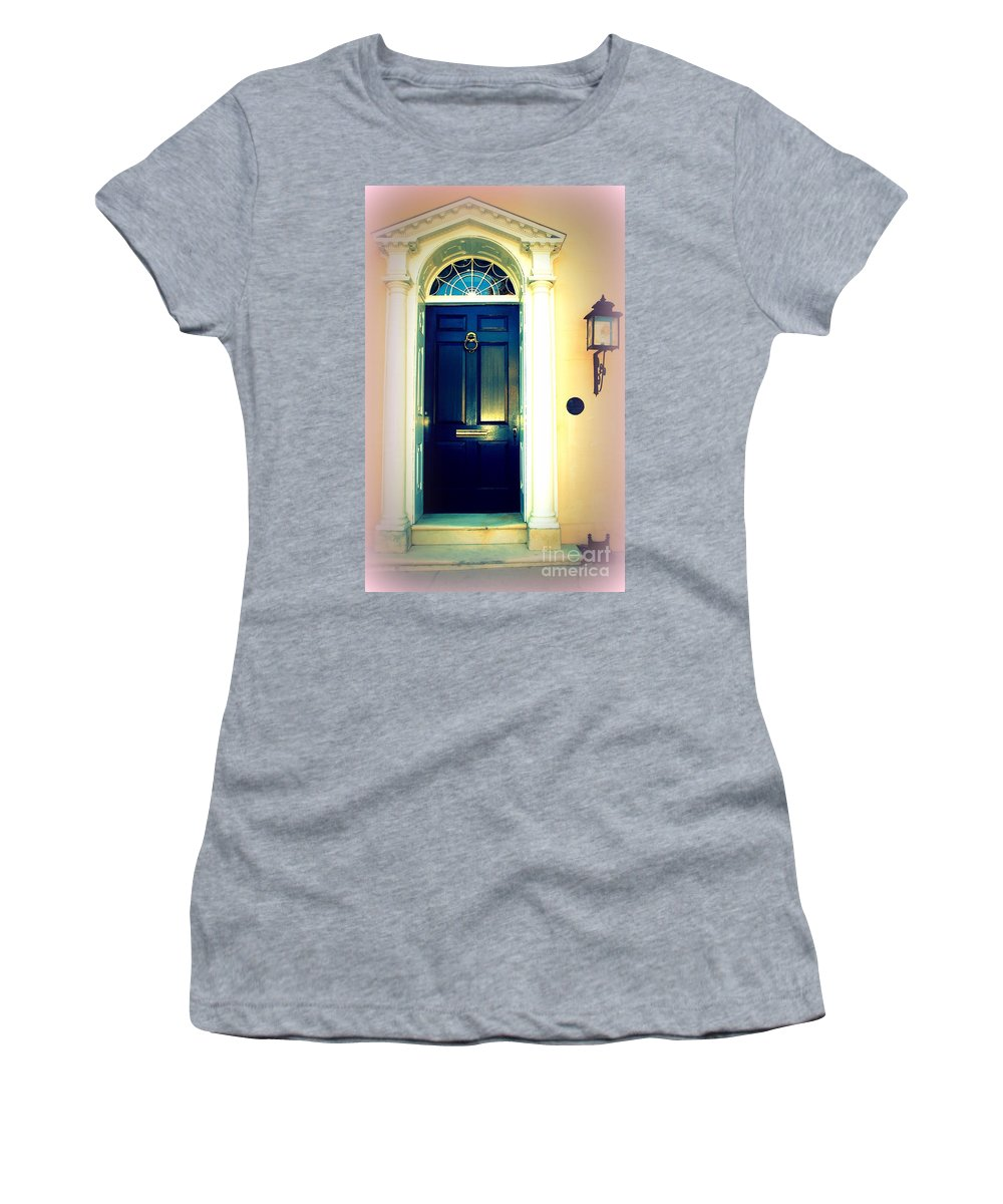 Charleston Women's T-Shirt (Athletic Fit) featuring the photograph Charleston Door 1 by Susanne Van Hulst