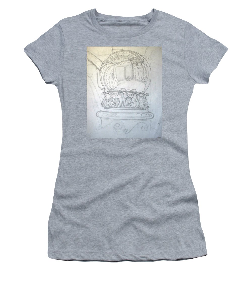Ball Women's T-Shirt featuring the drawing Chrome Ball at M.I.C.A. by Robert Fenwick May Jr