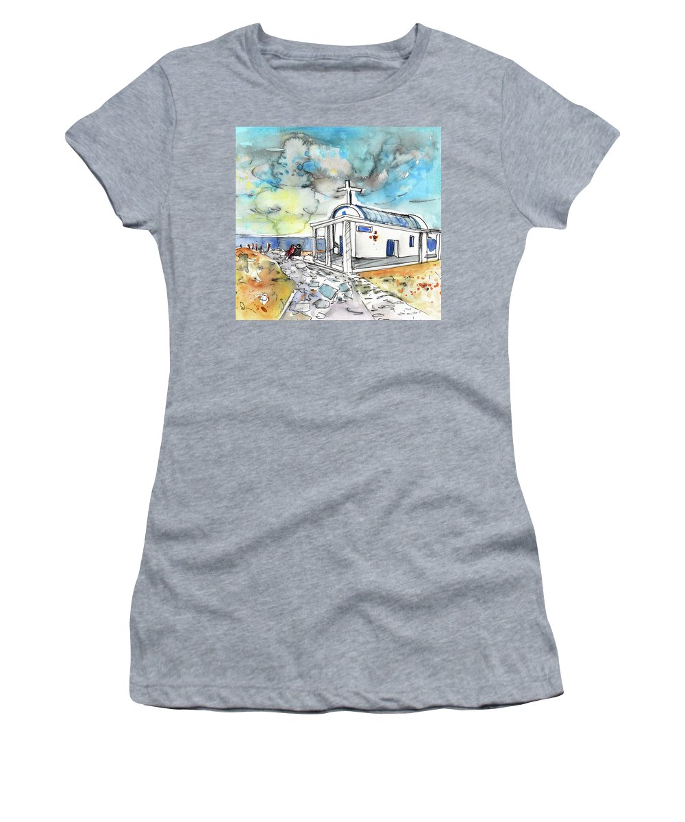 Travel Sketch Women's T-Shirt (Athletic Fit) featuring the painting Church In Cape Gkreko In Cyprus by Miki De Goodaboom