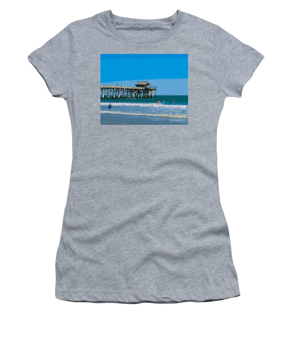 Florida Women's T-Shirt (Athletic Fit) featuring the painting Cocoa Beach Pier Florida by Allan Hughes