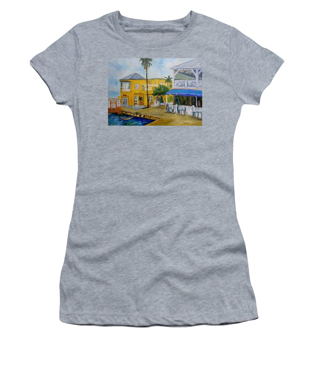 Landscape Painting Women's T-Shirt (Athletic Fit) featuring the painting Coconut Tree In The Middle by Diane Elgin