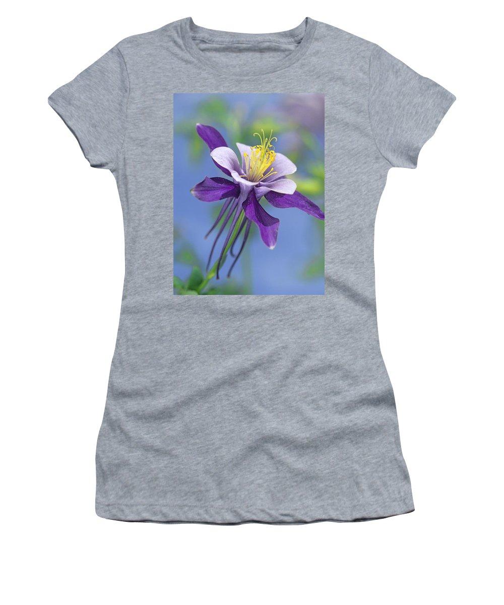 00176669 Women's T-Shirt featuring the photograph Colorado Blue Columbine Close by Tim Fitzharris