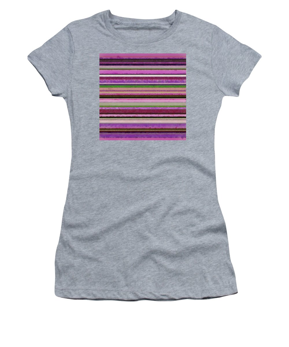 Textured Women's T-Shirt (Athletic Fit) featuring the painting Comfortable Stripes Lll by Michelle Calkins