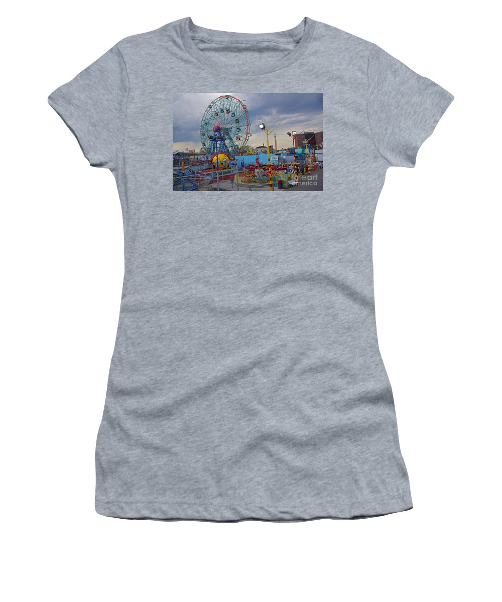 Coney Island Women's T-Shirt featuring the photograph Coney Island Amusements by Rich Walter