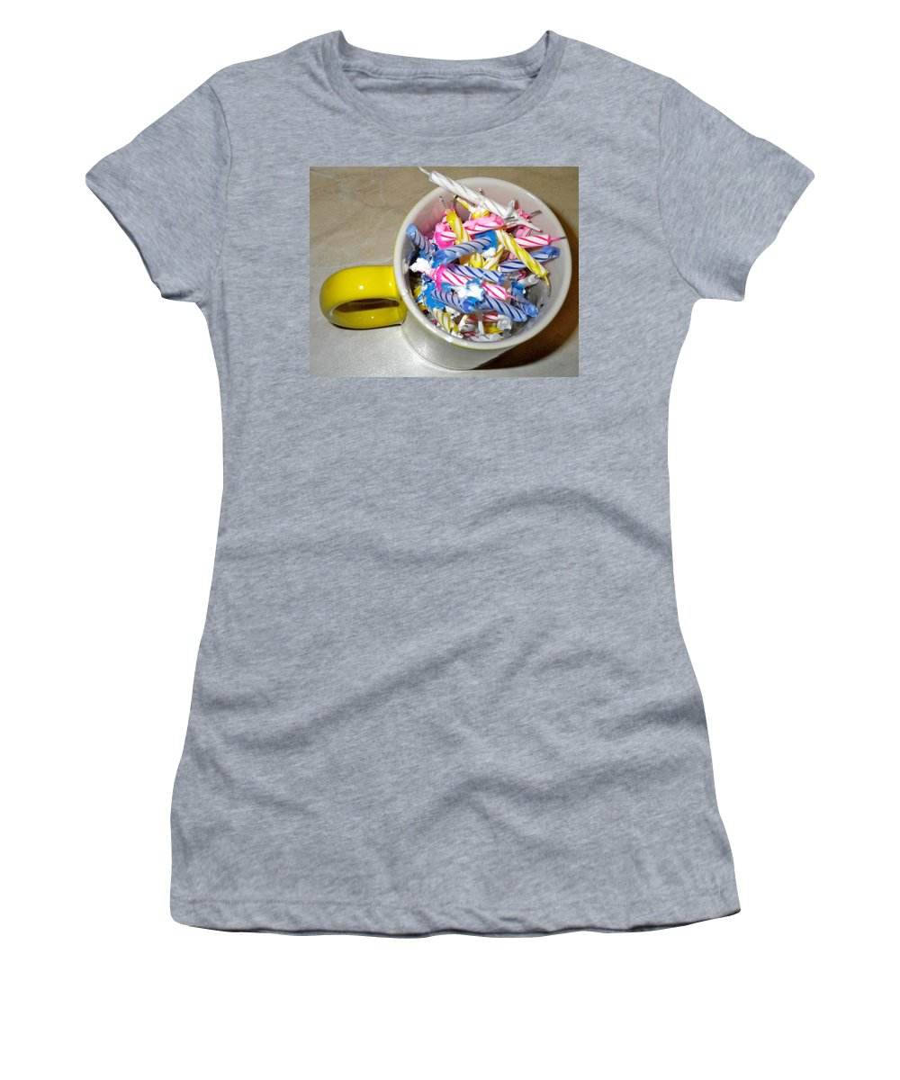 Birthday Women's T-Shirt featuring the painting Contest 45 Candles Birthday 12 24 2010 by Anna Ruzsan