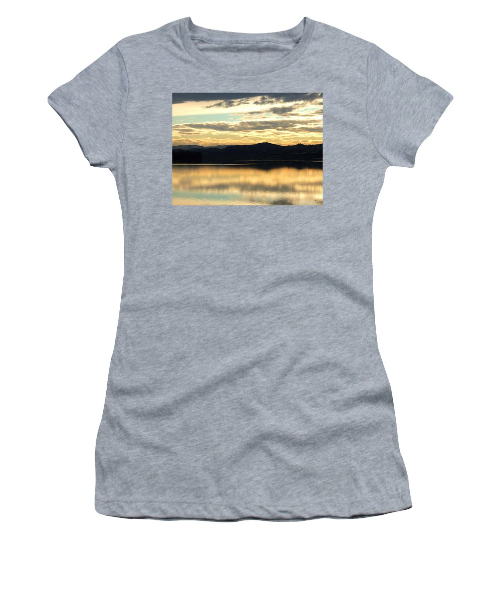 Copper Sky Women's T-Shirt featuring the photograph Copper Sky And Reflections by Will Borden