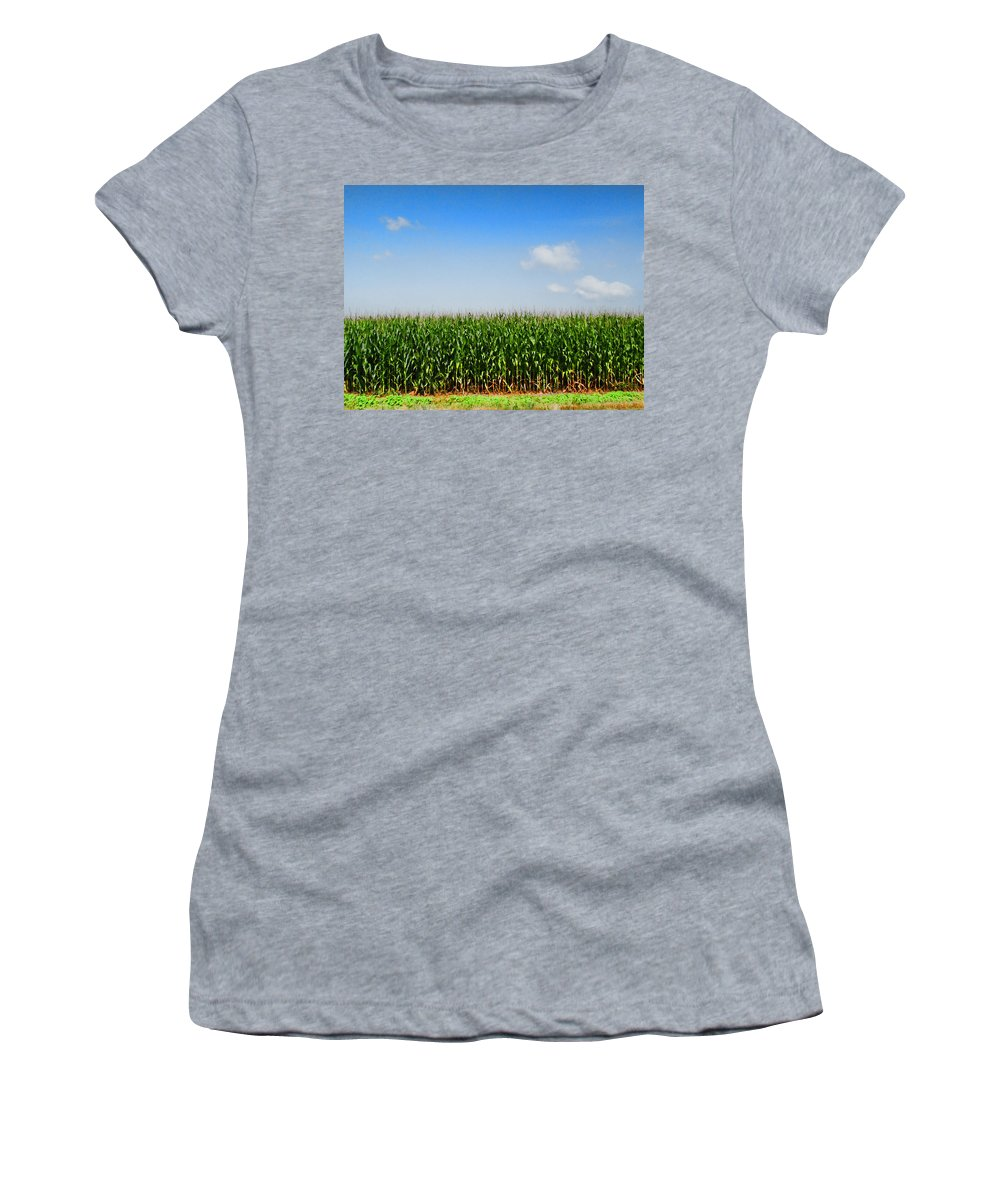 Corn Women's T-Shirt (Athletic Fit) featuring the photograph Corn Row by Kathy Clark