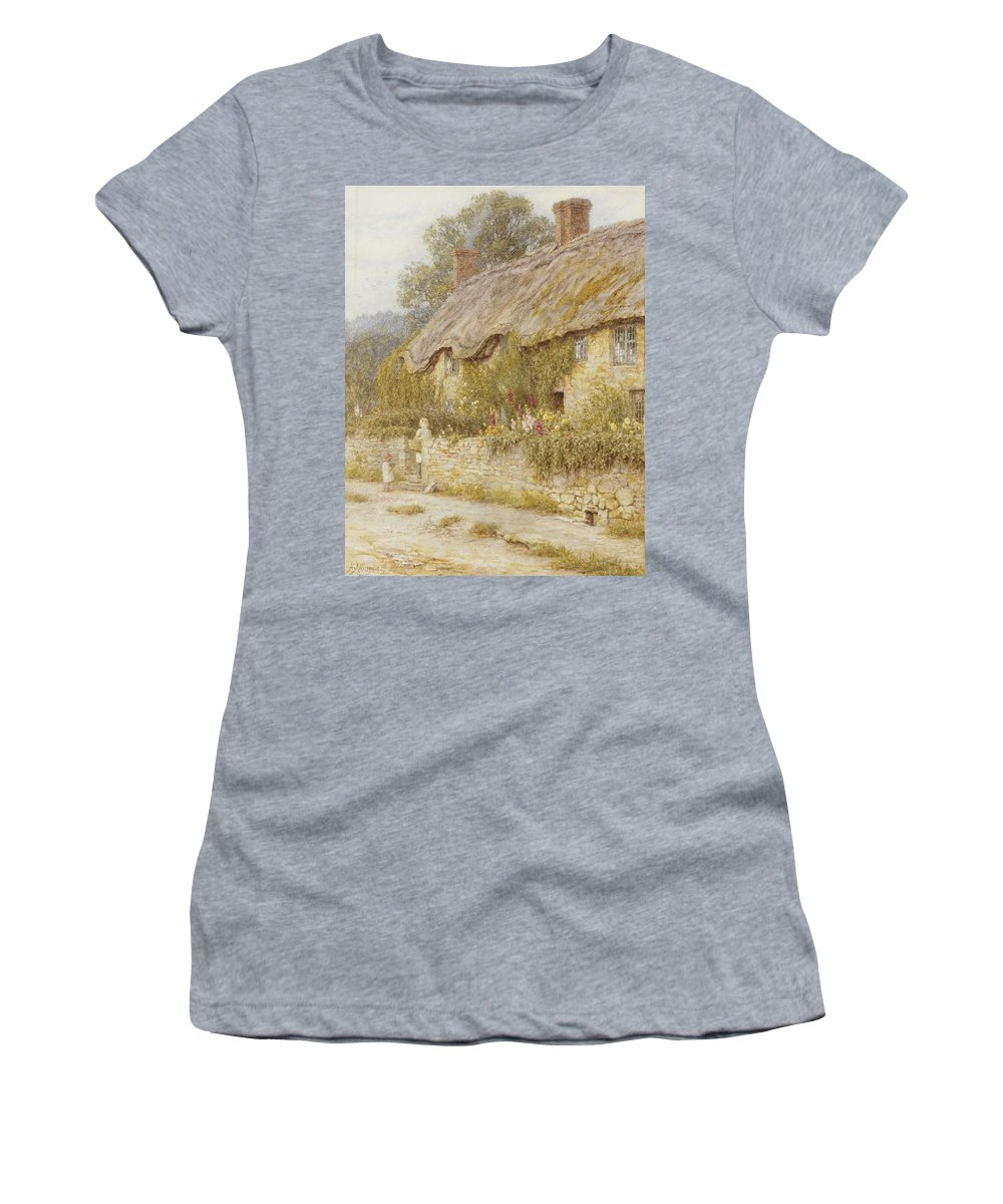 Cottage Near Wells Women's T-Shirt (Athletic Fit) featuring the painting Cottage Near Wells Somerset by Helen Allingham